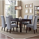 Simpli Home Avalon 7 Piece Dining Set in Dove Grey Linen Look Fabric (AXCDS7-AVL-DGL)
