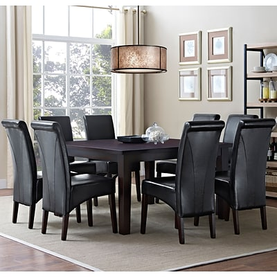 Simpli Home Avalon 9 Piece Dining Set in Midnight Black Faux Leather (AXCDS9-AVL-BL)