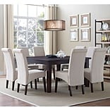 Simpli Home Avalon 9 Piece Dining Set in Natural Linen Look Fabric (AXCDS9-AVL-NL)
