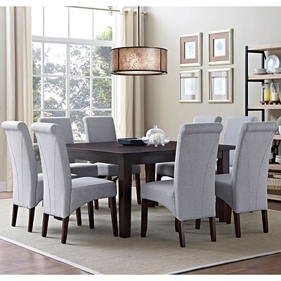 Simpli Home Avalon 9 Piece Dining Set in Dover Grey Linen Look Fabric (AXCDS9-AVL-DGL)