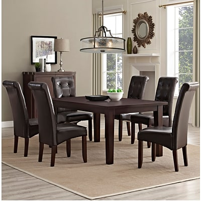 Simpli Home Cosmopolitan 7 Piece Dining Set in Tanners Brown Faux Leather (AXCDS7-COS-BR)