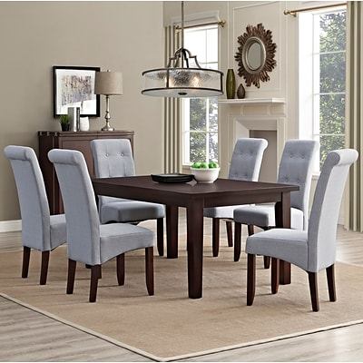 Simpli Home Cosmopolitan 7 Piece Dining Set in Dove Grey Linen Look Fabric (AXCDS7-COS-DGL)