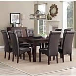 Simpli Home Cosmopolitan 9 Piece Dining Set in Tanners Brown Faux Leather (AXCDS9-COS-BR)