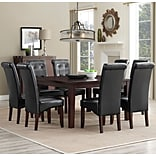 Simpli Home Cosmopolitan 9 Piece Dining Set in Midnight Black Faux Leather (AXCDS9-COS-BL)