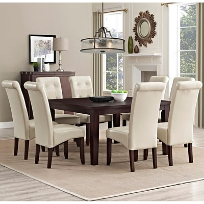 Simpli Home Cosmopolitan 9 Piece Dining Set in Satin Cream Faux Leather (AXCDS9-COS-CR)
