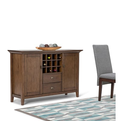 Simpli Home Redmond 54W Sideboard Buffet & Wine Rack in Rustic Natural Aged Brown (3AXCADM-08)
