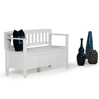 Simpli Home Brooklyn Entryway Bench in White (3AXCBROBEN-WH)