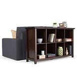 Simpli Home Acadian 33H 8 Cube Storage Sofa Table in Tobacco Brown (AXWELL3-014)
