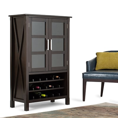 Simpli Home Kitchener 32W x 16D x 50H Storage Wine Rack in Dark Walnut Brown (3AXCRGL005)