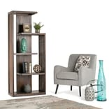 Simpli Home Monroe 72H Bookcase in Distressed Charcoal Brown (AXCMON-05)
