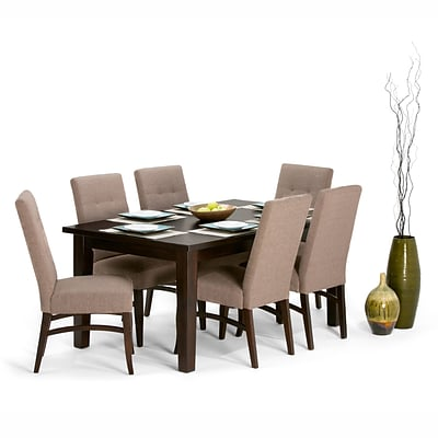 Simpli Home Ezra 7 Piece Dining Set in Fawn Brown Linen Look Fabric (AXCDS7EZ-BRL)
