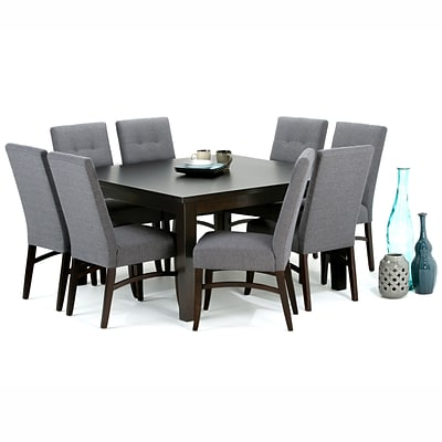 Simpli Home Ezra 9 Piece Dining Set in Slate Grey Linen Look Fabric (AXCDS9EZ-GL)