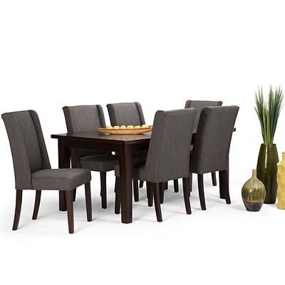 Simpli Home Sotherby 7 Piece Dining Set in Slate Grey Linen Look Fabric (AXCDS7SB-GL)
