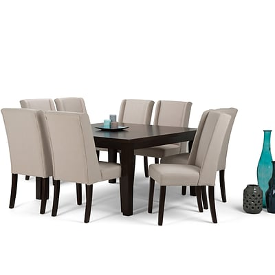 Simpli Home Sotherby 9 Piece Dining Set in Natural Linen Look Fabric (AXCDS9SB-NL)