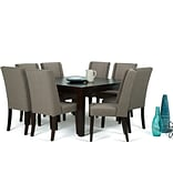 Simpli Home Sotherby 9 Piece Dining Set in Light Mocha Linen Look Fabric (AXCDS9SB-LML)