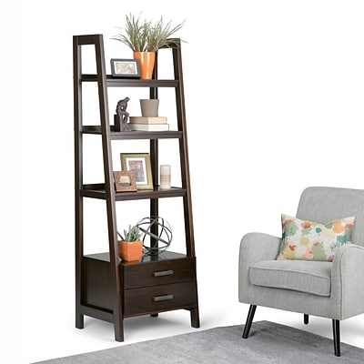 Simpli Home Sawhorse 72H Ladder Shelf with Storage in Dark Chestnut Brown (3AXCSAW-06-BR)