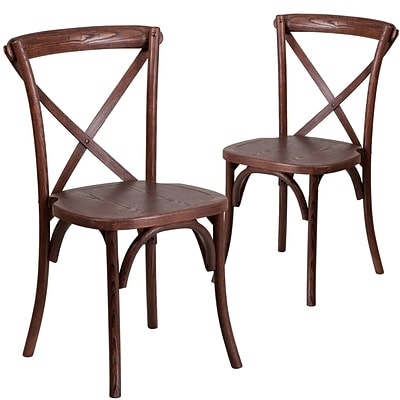 Flash Furniture Mahogany Cross Back Accent Chair Set of 2 (2XUXMAH)