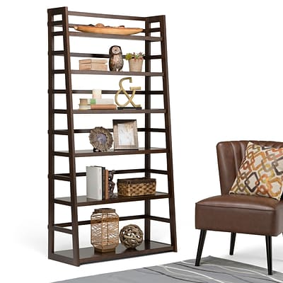 Simpli Home Acadian 72H Ladder Shelf Bookcase in Tobacco Brown (AXSS008KDW)