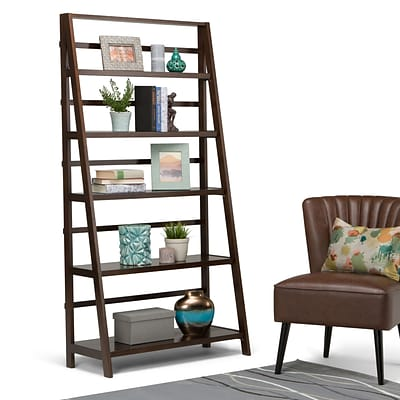 Simpli Home Acadian 72H Bookcase in Tobacco Brown (AXWELL3-016W)