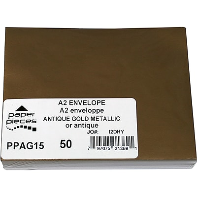 Leader Paper Products Antique Gold A2 Metallic Envelopes, 50/Pkg (PPA2M-AG15)