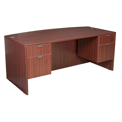 Legacy 71 Bow Front Double Pedestal Desk, Mahogany Laminate (LDPBF7135MH)