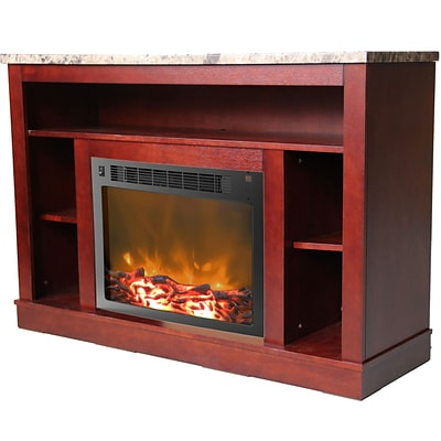 Cambridge 47 Electric Fireplace with a 1500W Log Insert and Mahogany Mantel (CAM5021-1MAH)