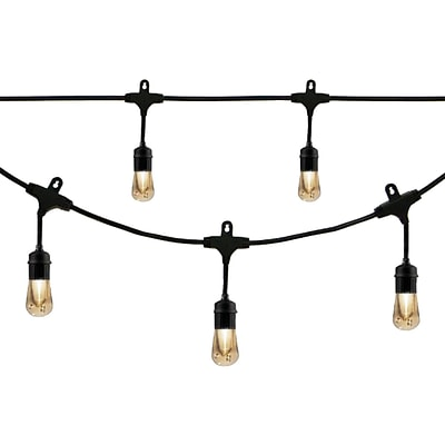 Enbrighten Vintage LED Outdoor Café Lights, Black (35631)