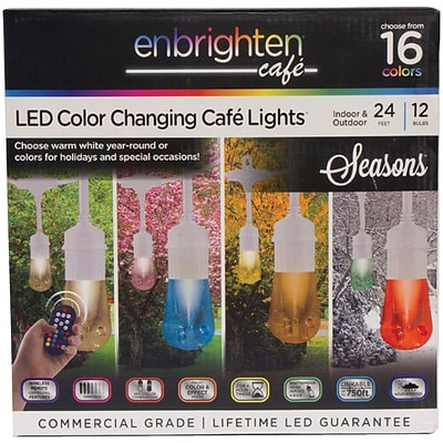 Enbrighten Cafe 39511 Seasons LED Color Changing Café Lights (24ft; 12 Acrylic Bulbs)