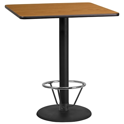 Flash Furniture Laminate 36 Square Table-Round Base Brown (XUNT3636TR24B4F)