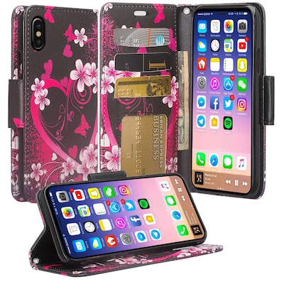 SumacLife Pink Flower Wallet Leather Case For iPhone X (APLLEA803)