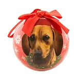 CueCuePet Christmas Tree Ornaments Red Ball, Dog Collection Dachshund (ORNDOG005)