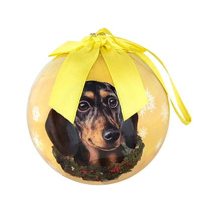 CueCuePet Christmas Tree Ornaments Golden Golden Ball, Dog Collection Dachshund (ORNDOG006)