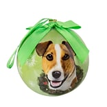CueCuePet Christmas Tree Ornaments Green Ball, Dog Collection Jack Russell (ORNDOG008)