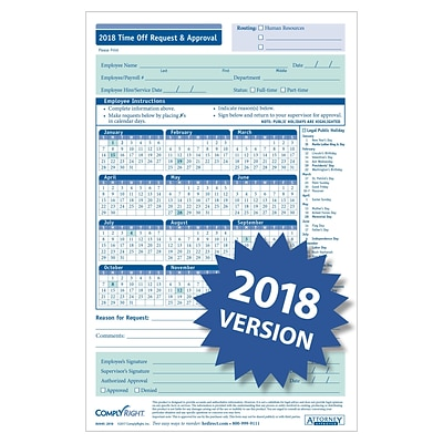 ComplyRight 2018 Time Off Request and Approval Form, 5-1/2 x 8-1/2, 2-Part, Pack of 50 (A0045)