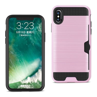 iPhone X Slim Armor Hybrid Case With Card Holder, Pink (SPWC01-IPH8PK)