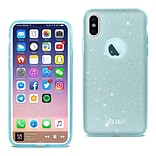iPhone X Shine Glitter Shimmer Hybrid Case, Blue (DTPU02-IPH8BL)