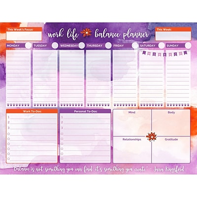bloom daily planners watercolor work life balance to do pad 8 5 x