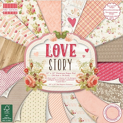 Trimcraft Love Story, 16 Designs, 3 Each First Edition Premium Paper Pad, 12 X 12, 48/Pkg (FEPAD113)