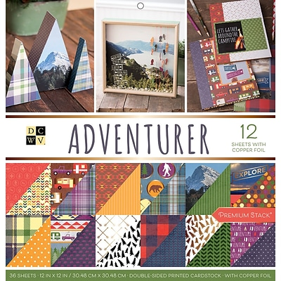American Crafts Adventurer, 12 W/Copper Foil DCWV Double-Sided Paper Stack, 12 X 12, 36/Pkg (PS005575)