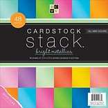 American Crafts Bright Metallics, White Core, 8 Col/6 Ea DCWV Cardstock Stack, 12 X 12, 48/Pkg (PS