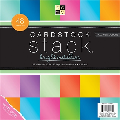 American Crafts Bright Metallics, White Core, 8 Col/6 Ea. DCWV Cardstock Stack, 12 X 12, 48/Pkg (PS005261)