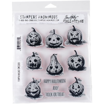 Stampers Anonymous Pumkinhead Tim Holtz Cling Stamps 7X8.5 (CMS-309)
