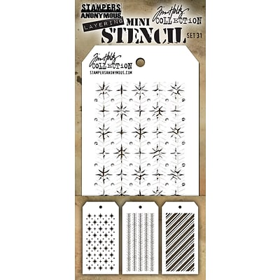 Stampers Anonymous Set #31 Tim Holtz Mini Layered Stencil Set, 3/Pkg (MTS-31)