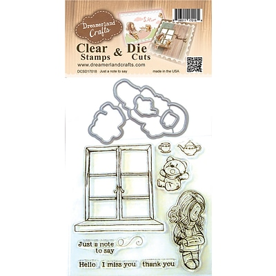 Dreamerland Crafts Just A Note To Say Clear Stamp & Die Set, 4 X 4 (D17018)