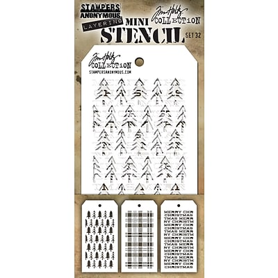 Stampers Anonymous Set #32 Tim Holtz Mini Layered Stencil Set, 3/Pkg (MTS-32)