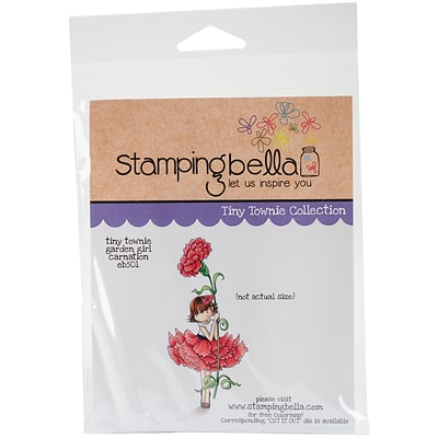 Stamping Bella Garden Girl Carnation Tiny Townie Cling Stamp 6.5X4.5 (EB501)