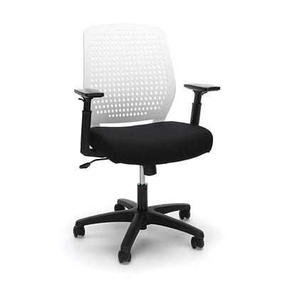 Essentials by OFM Model Plastic Back Ergonomic Task Chair, Black White (ESS-2055-BLK-WHT)