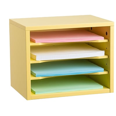 Adiroffice Yellow Wood Desk Organizer Workspace Organizers Removable Shelves 11 X 14 X 9.8 (502-01-YEL)