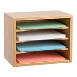 Adiroffice Medium Oak Wood Desk Organizer Workspace Organizers Removable Shelves 11 X 14 X 9.8 (5