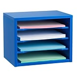 Adiroffice Blue Wood Desk Organizer Workspace Organizers Removable Shelves 11 X 14 X 9.8 (502-01-
